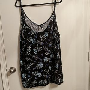 Torrid size 6 black tank with blue flower print